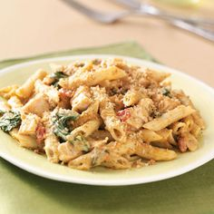 Pesto-Chicken Penne Casseroles Recipe -Creamy, flavorful and so easy to fix, this meal-in-one will wow family and friends. Get ready for recipe requests for this easy chicken casserole! —Laura Kayser, Ankeny, Iowa