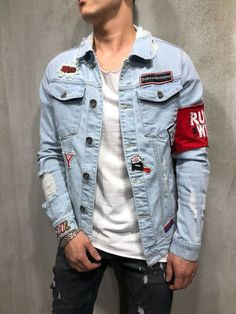 Red Armband Streetwear Denim Jacket 3786 / 20% OFF on First Order / Discount code: hellomono