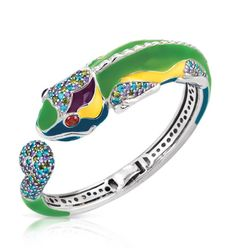 Belle EtoileChameleon Multi Bangle  Chameleon Collection $675 Chameleon Multi Bangle by Belle Étoile.  Hand-painted green and multi-colored Italian enamels with olive, amethyst, aquamarine and ruby stones set into rhodium-plated, nickel allergy-free, 925 sterling silver.