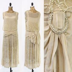 """""""Sublime and ethereal 1920's wedding dress just listed in the store! Tissue silk is completely beaded with tiny pearls. It has a wide dropwaaist belt the…"""""""