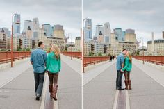 A walk and a kiss down the Stone Arch Bridge. Minneapolis engagement photos by Eileen K Photography