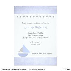 Little Blue and Gray Sailboat Baby Shower Invite