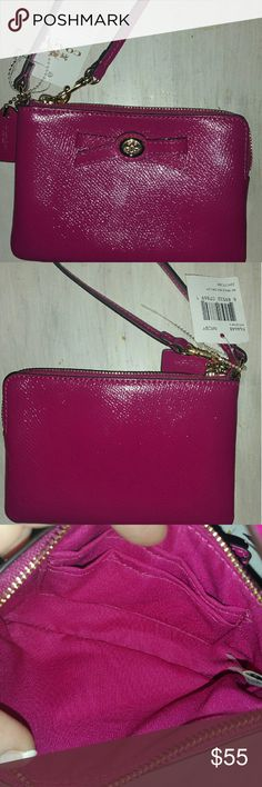 Coach F64648 cranberry turnlock zip wristlet Coach cranberry turnlock wristlet f64648. New With Tags. 59.99. Inside has card slots. Top zip, turnlock bow front, hangtag, gold hardware. Measures. 7.6 x 5.8 x2.3. Coach Bags Clutches & Wristlets