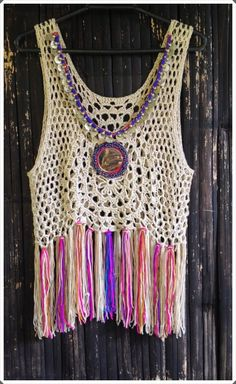 Handmade Crochet Fringed Boho Top with Vintage Mirror. Womans Crochet Beaded Jewelry Measurements, Bust 32 stretched up to 46 inches Length 24 inches boho, Crochet Woman, Crochet Yarn, Crochet Stitches, Crochet Top, Crochet Patterns, Crochet Bobble, Boho Tops, Top Boho, Gilet Kimono