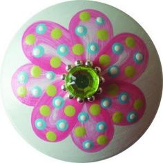 These hand painted drawer knobs are the perfect finishing touch to any room. This is for 1 drawer knob, but if you need more than 1, feel free to add as many as you would like from the drop down menu.  Let me know which one you want from the two pictures: dark pink w/green bling light pink w/lavender bling  These can be customized in any color scheme, just contact me or write a note to me when checking out. I take great pride in detail and workmanship. Each knob is hand painted for ...
