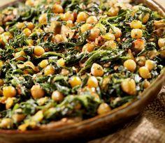 Homemade vegetarian chana masala with spinach