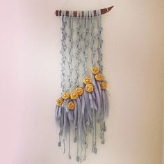 Thanks to for the tutorial how to make those finishing knots, Dziękuję 😘 You can find rose knot tutorial at Handmade Wall Hanging, Large Macrame Wall Hanging, Yarn Wall Hanging, Rope Crafts, Diy Crafts Jewelry, Dream Catcher Decor, Macrame Curtain, Textile Fiber Art, Lace Decor