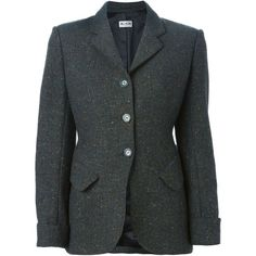 Alaïa Vintage Tweed Blazer (33,965 DOP) ❤ liked on Polyvore featuring outerwear, jackets, blazers, green, alaïa, tweed blazer, green tweed blazer, green tweed jacket and vintage blazer