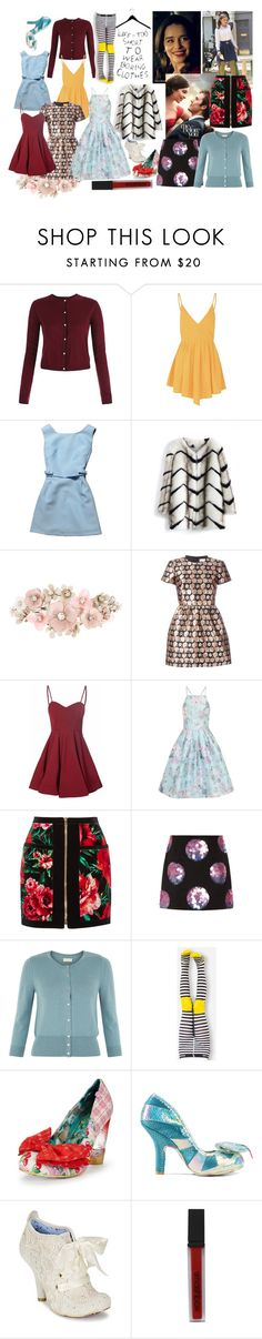"""""""Louisa Clarke- Me before you"""" by claire1260 ❤ liked on Polyvore featuring Glamorous, Chicwish, Accessorize, RED Valentino, Chi Chi, Balmain, Opening Ceremony, Monsoon, Irregular Choice and Smashbox"""