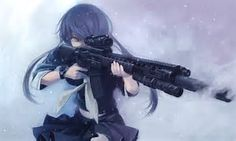 Image result for Anime Girl with Really Short Hair with weapon