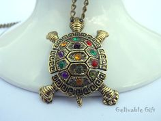 Steampunk tortoise necklacewith colorful crystals by Gelivablegift, $3.99