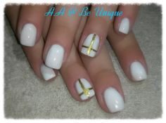 Nails done by Angelique Allegria. #white #gold #stripes #Cross #BeUnique @angiedsa