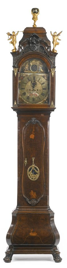 Dutch Baroque gilt metal-mounted walnut and marquetry longcase clock 18th century, the dial signed J. M. Juntes Amsterdam height 104 1/2 in.; width 24 1/2 in.; depth 13 1/2 in.