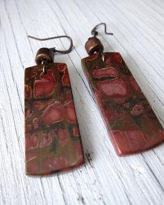 BERRIES Jasper Slab Earrings  Red Creek by SusanHeleneDesigns, $45.00