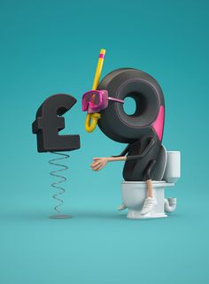 Chris LaBrooy is a freelance designer/illustrator from United Kingdom, who creates really creative typography based advertise projects. 3d Typography, Graphic Design Typography, Lettering, Zbrush, Chris Labrooy, Digital Cinema, Digital Art, 3d Type, 3d Figures