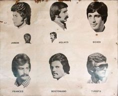 DOBBER'S HAIR --A vintage barber shop poster from Guatemala. We'll take the Bostoniano. [JohnnyVagabond via TheAceHotel and AlsoHere] Vintage Hairstyles For Men, 1970s Hairstyles, Men's Hairstyles, Hairdos, Free Haircut, Hairstyle Names, Long Hairstyle, Mane Event, Hair Magazine