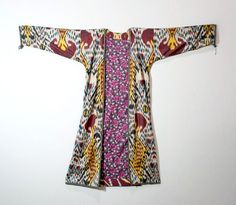 Silk Woven Ikat Kaftan Robe Central Asia   From a unique collection of antique and modern textiles and quilts at https://www.1stdibs.com/furniture/more-furniture-collectibles/textiles-quilts/