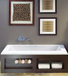 Minimalist design. Generous function. Available with Contemporary Tub Surround-Metro.
