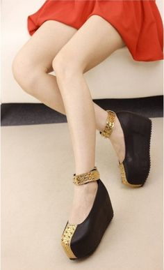 Fashion Women's T-Strap Rivet Embellished High Platform Shoes on BuyTrends.com, only price $27.92