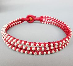 Friendship Anklet Multi Line Red  Wax Cord  by handmadethaicountry