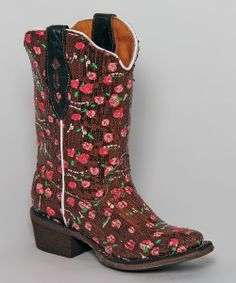 Brown & Pink Sequin Tapered-Toe Cowboy Boot | Daily deals for moms, babies and kids