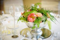 Wedding table centre using coral peonies, coral Miss Piggy roses limey green hydrangea, amaranthus and ferns in a simple silver bowl. Wedding Table Centres, Coral Peonies, Amaranthus, Green Hydrangea, Table Centers, Chair Covers, Event Styling, Pantone Color, Ferns