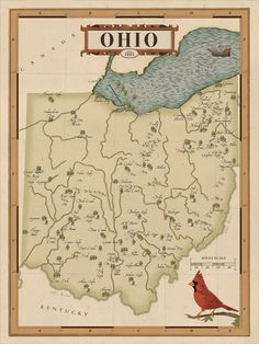Ohio Map, State Map, Ohio State Parks, Ohio State Rooms, The Buckeye State, National Parks Map, Framed Maps, Mystery Of History