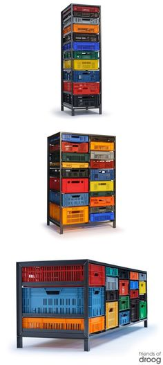 Discover thousands of images about pallets rock but so do milk crates. this milk crate furniture via whorange. Crate Furniture, Industrial Furniture, Furniture Design, Do It Yourself Design, Plastic Crates, Milk Crates, Diy Storage, Crate Storage, Storage Ideas