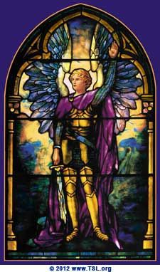 "Saint Michael the Archangel by Tiffany. Archangel Michael (meaning ""who is like God?"") is known in Christian, Jewish and Islamic tradition and scripture as the greatest and most revered of angels."