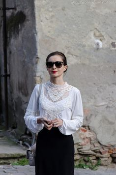 black and white White Lace, Black And White, Red Lipsticks, Lace Skirt, Ruffle Blouse, Skirts, Tops, Women, Style
