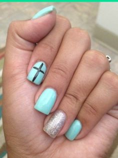 Teal nails with accent cross and silver nail. Normally not a fan of such girly nails but this is cute. Love the color. Related Posts:awesome nail art designs for women valentine's day nail art 50 nail art collection for nail art collection trends Related Teal Nails, Silver Nails, Love Nails, How To Do Nails, Pretty Nails, Blue Nail, Silver Glitter, Silver Ring, Easter Nail Designs