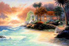 Featured Art - Friday Evening Summer by Chuck Pinson Carolina Do Norte, Image Halloween, Beautiful Landscape Paintings, Landscape Art, Image Nature, Autumn Lake, Creation Photo, Summer Painting, Cottage Art