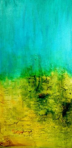 A Spiritual Journey by Jayshree Bihari is a painting that blends turquoise blue and yellow #inspiring #palette - More wonders at www.francescocatalano.it