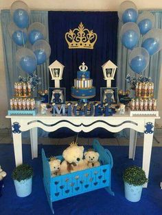 Baby shower boy prince royal New Ideas Shower Party, Baby Shower Parties, Baby Shower Themes, Baby Shower Decorations, Idee Baby Shower, Shower Bebe, Baby Boy Shower, Prince Birthday Party, Boy Birthday