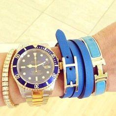 Stylish Matching Blue Hermes Bracelets with a Two Tone Blue Submariner #submariner #blue #hermes #rolex