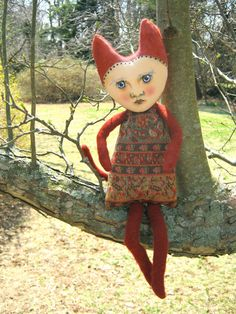 Cat girl art doll, Clarice,  cute, weird, contemporary folk art, ooak doll, tapestry dress, sandy mastroni
