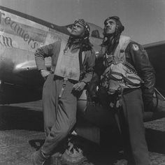 "Tuskegee Airmen:  Col. Benjamin O. Davis Jr. and Capt. Edward Gleed stand in in front of Lt. White's ""Creamer's Dream"""