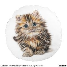 Cute and Fluffy Blue Eyed Kitten Pillow