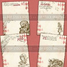 Alice in Wonderland Printable Digital Paper - You Print It Digital Scrapbook Journal LTR SIZE - Wonderland 4 Page Paper Pack - 4 Designs