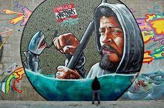 "Amazing piece by street artist MrDheo ""Mar the Fisherman"" #mrdheo #streetart #art #graffiti"