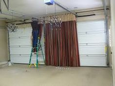 hide garage door with curtain - Google Search