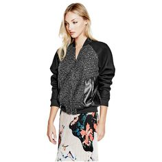 GUESS Danney Bomber Jacket ($138) ❤ liked on Polyvore featuring outerwear, jackets, flight jackets, guess jackets, metallic jacket, lace bomber jacket and zip jacket