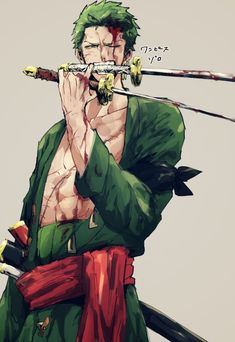 """Roronoa Zoro, nicknamed """"Pirate Hunter"""" Zoro, is a fictional character in the One Piece franchise created by Eiichiro Oda. In the story, Zoro is the first to join Monkey D. Luffy after he is saved from being executed at the Marine Base. He is one of the two swordsmen of the Straw Hat Pirates, #OnePiece #Luffy #Zoro"""