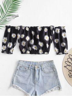 156f09823c ZAFUL Daisy Print Off The Shoulder Crop Top - Black M Party Dresses Uk
