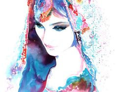 Fashion Print, Indian Bride Print from Original Watercolour Painting. Watercolor Fashion. Titled: Indian Bride Topaz