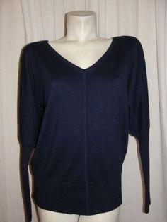 Boston Proper Sweater Top Women's Sz M Blue V-Neck/Back LS Cotton Cashmere Silk #BostonProper #KnitTop #Casual