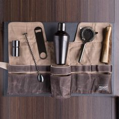 Premium Modern Titanium Coated Professional Bartender Kit Home and Workplace Jump Bag, Bartender Set, Waxed Canvas Bag, Cocktail Making, Tool Set, Barista, Cocktails, Collection, Water