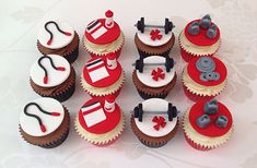 Red & White Gym Themed Cupcakes