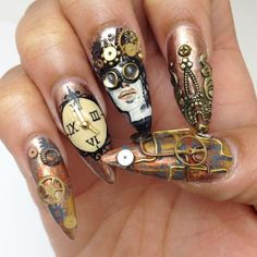 Steampunk nail art by Lavette Cephus and Lexi Martone Steampunk Nails, Steampunk Makeup, Art Steampunk, Steampunk Fashion, Steampunk Design, Steampunk Wedding, Cute Nails, Pretty Nails, My Nails