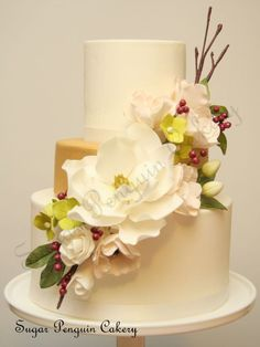 """""""Charmed"""" wedding cake ~ all sugar flowers and all edible"""